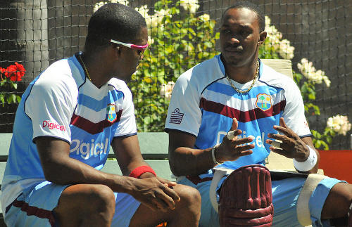 Photo: West Indies and Trinidad and Tobago cricket brothers Dwayne (right) and Darren Bravo. (Courtesy WICB Media)