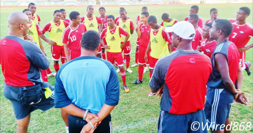 Photo: The Trinidad and Tobago national under-17 football players and technical staff share a moment. (Courtesy Victoria Walcott/Wired868)