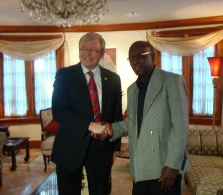 Photo: Kevin Rudd (left) has fought his way out of the political graveyard in Australia to regain his role as Prime Minister. Warner might hope for similar success in Trinidad and Tobago.