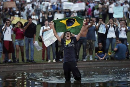 Photo: Brazilians have had enough of the corruption and bullying associated with the 2014 World Cup. (Courtesy globeandmail)