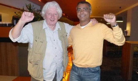 Photo: British investigative journalist Andrew Jennings (left) and former Brazil World Cup winner Romario.