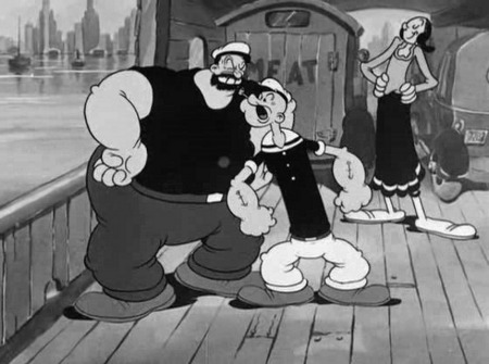 Photo: Olive (right) looks on as Popeye (centre) and Bruno try to resolve their differences.