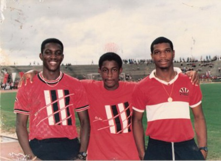 "Photo: The ""Strike Squad"" trio of Dwight Yorke (left), Russell Latapy (centre) and Kerry Jamerson. Jamerson had to haggle with scalpers to watch Yorke and Latapy play for the ""Soca Warriors"" in 2005. (Courtesy ttfootballhistory.com)"