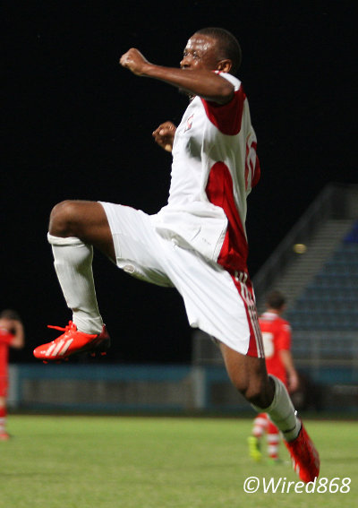 Photo: DIRECTV W Connection midfielder Jomal Williams celebrates his strike against Walsall FC in Couva. (Courtesy Wired868)