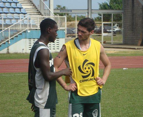 Photo: W Connection striker Mirko Delia (right) talks to teammate Silvio Spann. Delia was once a Serie A player for Catania while Spann was on the books for Perugia. (Courtesy W Connection)