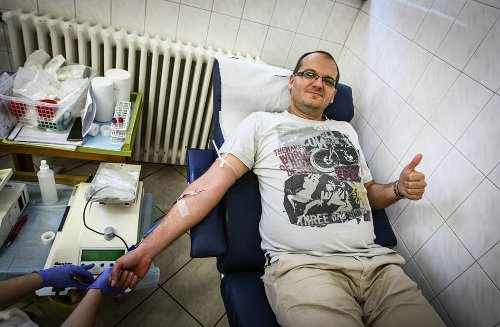 Photo: This unnamed donor is one of over 200 persons who donated blood to Akeem Adams in Budapest. In Trinidad, politicians and football officials lined up to offer lip service.