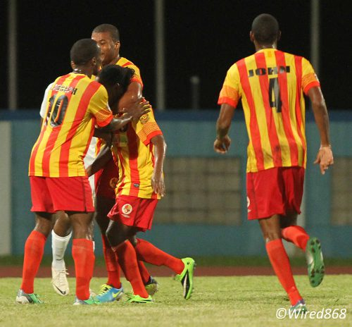 Photo: Point Fortin Civic FC celebrates its first Pro League goal against Police FC in Couva. (Courtesy Wired868)