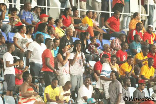 Photo: There were over 2,000 football fans for the Pro League opener at the Ato Boldon Stadium in Couva. (Courtesy Wired868)