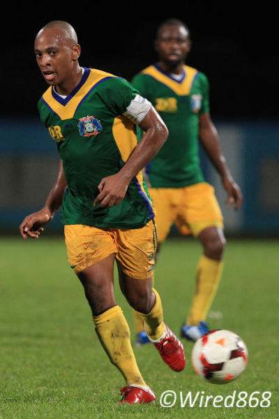 Photo: Guaya United midfielder Leston Paul gave a wonderful individual performance as vice-captain but it was not enough to stop W Connection. (Courtesy Allan V Crane/Wired868)