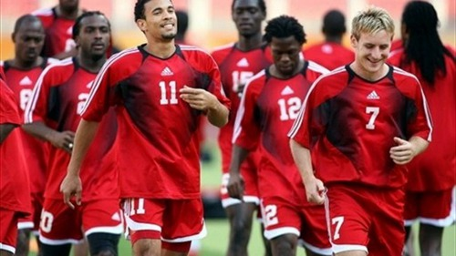 Photo: Trinidad and Tobago stalwarts Carlos Edwards (number 11) and Chris Birchall (number 7) train with their teammates during the 2006 World Cup in Germany,