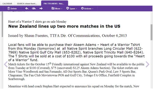 """Photo: TTFA told football fans that all proceeds from the """"I Support Akeem"""" tee-shirts would go to Akeem Adams."""
