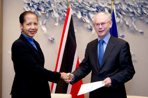 Photo: Trinidad and Tobago Ambassador to Brussels Margaret King-Rousseau (left) is yet to contact her compatriot, Akeem Adams, in Hungary.