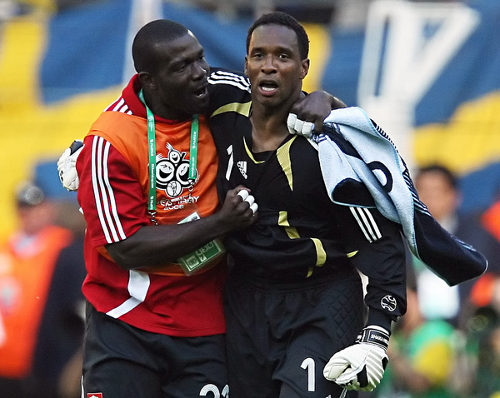 Photo: Trinidad and Tobago goalkeepers Kelvin Jack (left) and Shaka Hislop during the 2006 World Cup. The two Soca Warriors have disagreed about whether the TTFA deserves more time to settle its debt.