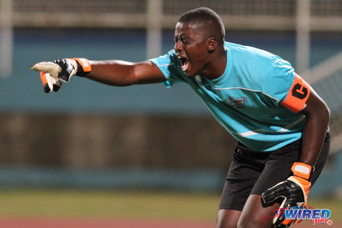 Photo: Trinidad and Tobago national goalkeeper Marvin Phillip gesticulates during his stint with Central FC. (Courtesy Allan V Crane/Wired868)