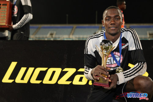 Photo: Twenty-year-old Central FC attacker Rundell Winchester was named the MVP of the final. (Courtesy Allan V Crane/Wired868)