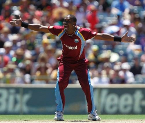 Photo: Trinidad and Tobago and West Indies ODI captain Dwayne Bravo appeals for a decision.