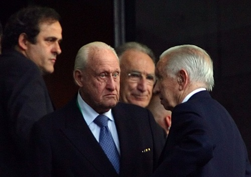 Photo: Ex-FIFA president  Joao Havelange (centre), ex-IOC president Juan Antonio Samaranch (right) and UEFA president and former France football star Michel Platini (left) wait for the start of the World Cup 2006 final at Berlin's Olympic Stadium on 9 July 2006.          (Copyright AFP 2014/Nicolas Asfouri)
