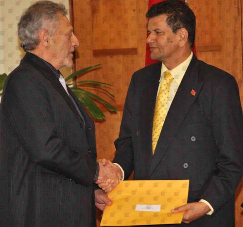 Photo: Present and past Tourism Ministers Gerald Hadeed (left) and Chandresh Sharma.