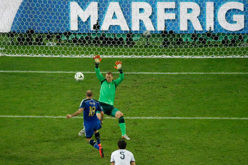 Photo: Argentina's rat-tailed forward Rodrigo Palacio (centre) shoots past Germany goalkeeper Manuel Neuer but wide of the goal in the 2014 World Cup final. (Copyright AFP 2014/Fabrizio Bensch)