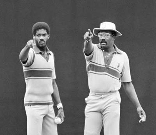 Photo: Former West Indies captain and icon Clive Lloyd (right) shares a point with legendary pacer Michael Holding.
