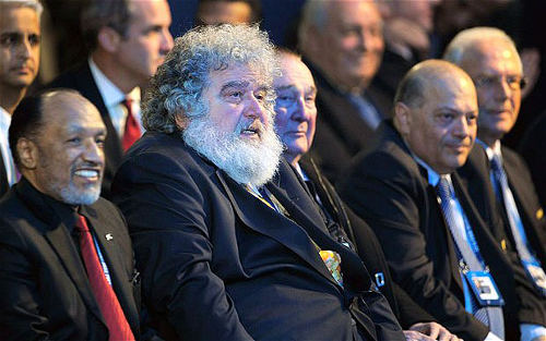 Photo: Former CONCACAF general secretary Chuck Blazer (centre) and disgraced former FIFA vice-president Mohamed Bin Hammam (Courtesy UK Telegraph)