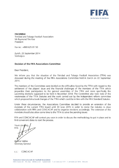 Photo: FIFA general secretary Jerome Valcke suggests that TTFA president Raymond Tim Kee can stay in power without an election.