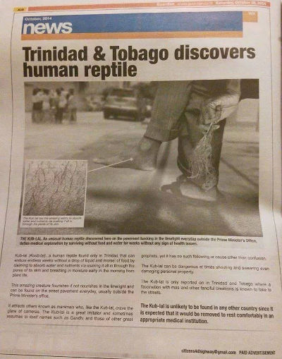 Photo: The Trinidad Guardian newspaper published a slanderous attack on Highway Re-Route activist Dr Wayne Kublalsingh.