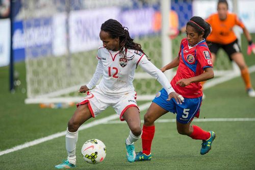 Photo: Trinidad and Tobago attacker Ahkeela Mollon (left) tries to win space from Costa Rica right back Diana Saenz during the 2014 Women's CONCACAF Championship. (Courtesy CONCACAF)