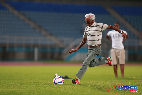 Photo: A senior supporter prepares to bury his penalty kick during the Toyota halftime challenge at the 2014 Toyota Classic final. (Courtesy Allan V Crane/Wired868)