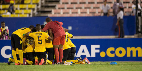 Photo: Jamaica footballers celebrate a late leveller in CONCACAF Under-20 Championship action against Trinidad and Tobago in Kingston. (Courtesy CONCACAF)
