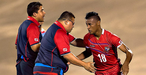 Photo: Panama striker Carlos Small has led his team's offence in this CONCACAF tournament. But he was nullified against Trinidad and Tobago. (Courtesy CONCACAF)