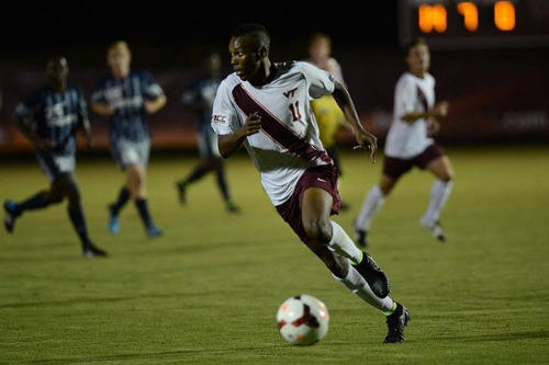 Photo: Virginia Tech striker student Ricardo John was among the players drafted into the Under-23 squad because they already had visas. John took advantage of the opportunity and scored twice in two substitute appearances.