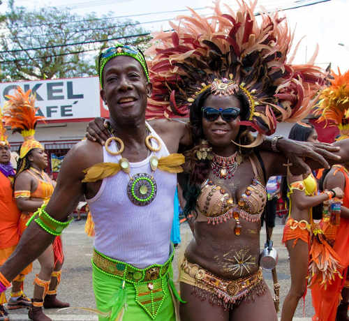 Photo: Opposition Leader Dr Keith Rowley enjoys himself during Carnival 2015.