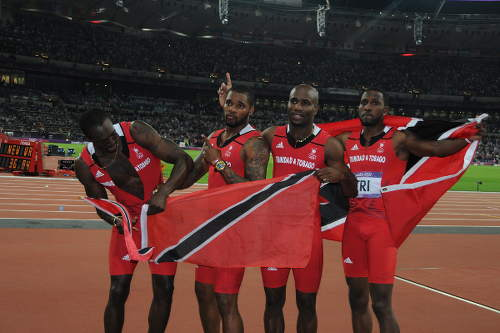 Photo: Trinidad and Tobago's 2012 Olympic Games 4x100 metre team (from left) Marc Burns, Keston Bledman, Emmanuel Callender and Richard Thompson.