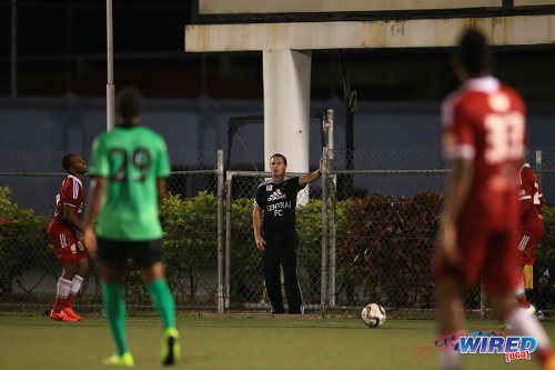Photo: Central FC coach Terry Fenwick (centre) was forced to follow the action from just in front the Centre of Excellence's parking lot on his Pro League return against San Juan Jabloteh. (Courtesy Allan V Crane/Wired868)