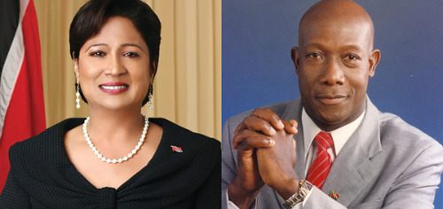 Photo: Prime Minister Kamla Persad-Bissessar (left) and Opposition Leader Dr Keith Rowley.