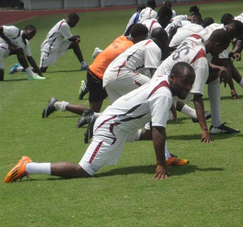 Photo: North East Stars utility player Kennedy Hinkson trains with his teammates. (Courtesy: Nadira Mathura/Wired868)