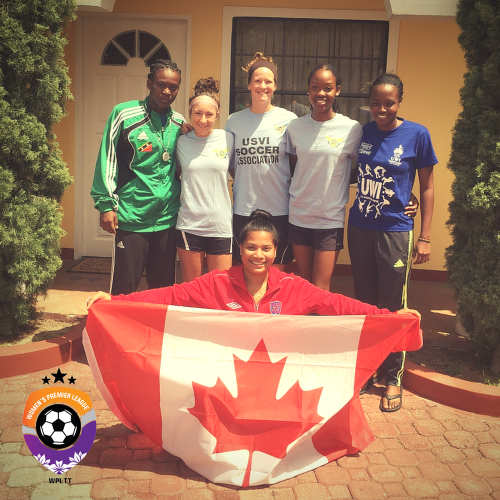 Photo: Women's Premier League players (from left) Tynetta McCoy (St Kitts and Nevis), Jessica Adams, Emily Marie Cota, Zaudita Kaza-Amlak (all US Virgin Islands), Shanice Stephenson (Barbados) and, stooping, Alyssa Budhoo (Canada). (Courtesy WPL)