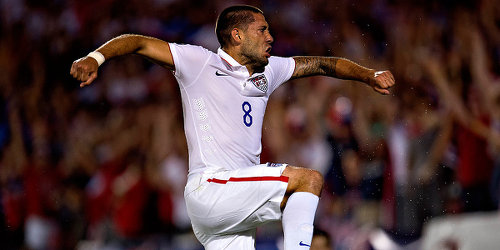 Photo: United States forward Clint Dempsey celebrates his 2015 Gold Cup strike against Honduras in Dallas. (Courtesy MexSport/CONCACAF)