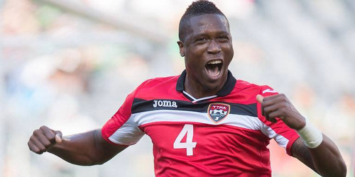 Photo: Trinidad and Tobago defender Sheldon Bateau celebrates his maiden international goal against Guatemala at the 2015 CONCACAF Gold Cup. (Courtesy CONCACAF)