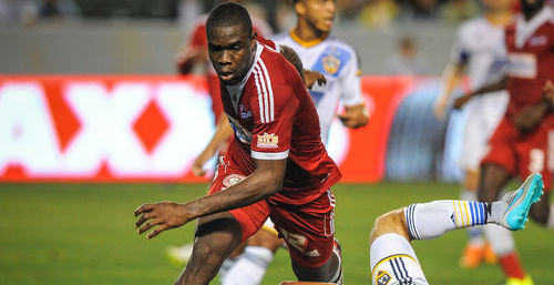 """Photo: Central FC defender Jamal Jack in CONCACAF Champions League action against LA Galaxy. Jack was sent off last night as the """"Couva Sharks"""" were edged 1-0 by Comunicaciones in Guatemala. (Copyright CONCACAF)"""