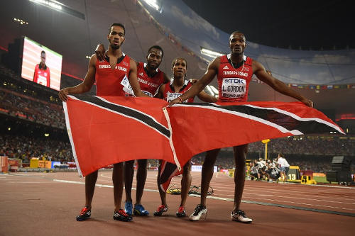 Photo: Trinidad and Tobago's 4x400 metre World Championship team (from left) Machel Cedenio, Deon Lendore, Rene Quow and Lalonde Gordon. (Copyright AFP 2015/Olivier Morin)