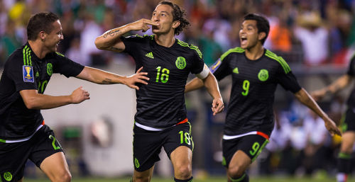 Photo: Mexico star Andres Guardado (centre) celebrates his strike against Jamaica in the 2015 CONCACAF Gold Cup final, (Copyright MexSport/CONCACAF)