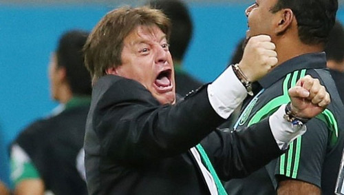 Photo: Mexico coach Miguel Herrera was famed for his inimitable touchline goal celebrations.