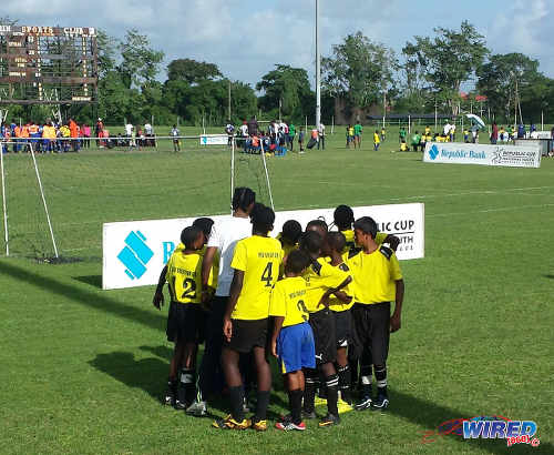 Photo: WEZ Pro players prepare for kick off during Republic Bank National Youth League action yesterday in Guaracara Park. (Courtesy Kirwin Weston/Wired868)