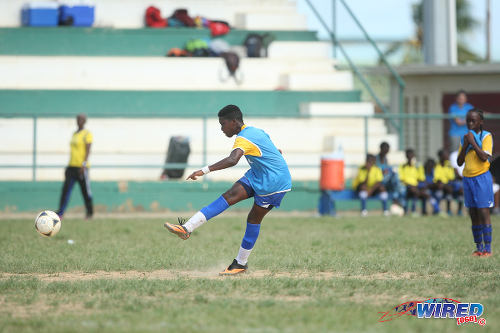 Photo: St Clair Coaching School midfielder Jaheim Harry shoots for goal against WEZ Pro in the Republic Bank National Youth Cup quarterfinal round. (Courtesy Allan V Crane/Wired868)