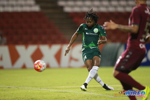Photo: W Connection attacker Andre Toussaint blazes wide in CONCACAF Champions League action against Deportivo Saprissa. (Courtesy Allan V Crane/Wired868)