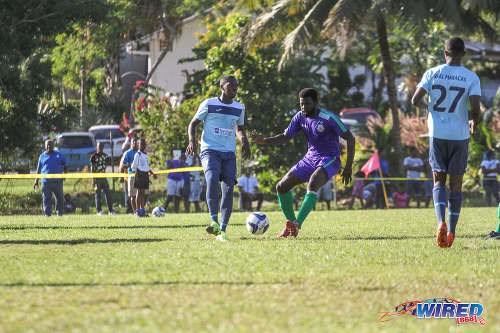 Photo: Action between Real Maracas and Club Sando in the National Super League yesterday. (Courtesy Sinead Peters/Wired868)