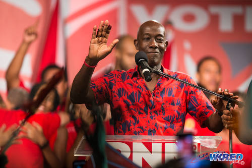 Photo: New Prime Minister Dr Keith Rowley gestures to supporters at Balisier House after the election results on September 7. (Courtesy Allan V Crane/Wired868)