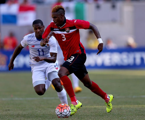 Photo: Trinidad and Tobago midfielder Joevin Jones (right) in action against Panama in the 2015 CONCACAF Gold Cup. (Copyright AFP 2015)